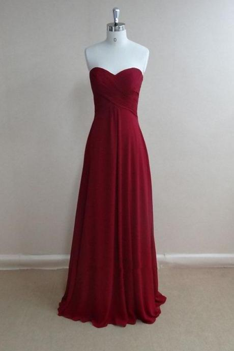 Dark Red Chiffon Prom Dresses Sweetheart Neck Women Party Dresses