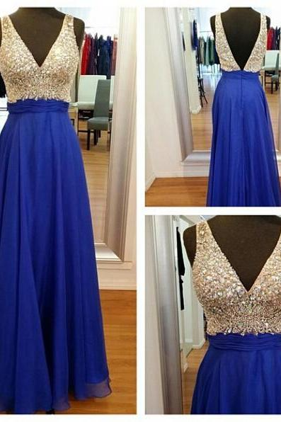 Navy Blue Chiffon Prom Dresses V-neck Long Crystals Beaded Women Gowns