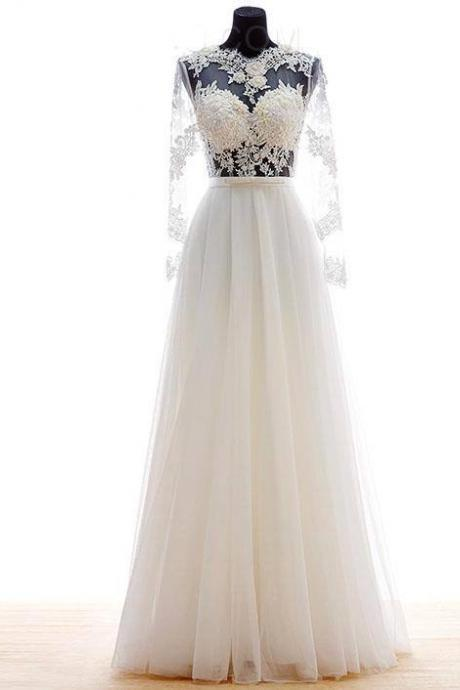 Long Sleeves White Tulle Prom Dresses Floor Length Lace Women Party Dresses