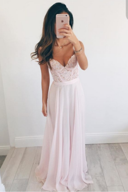Sweetheart neck Light Pink Chiffon Prom Dresses Lace Women Dresses