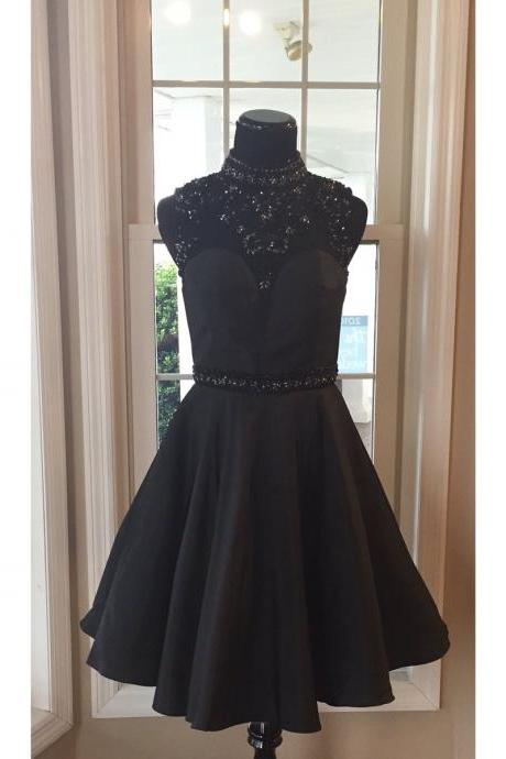 Short Black Satin Homecoming Dresses Beaded Women Party Dresses 2017