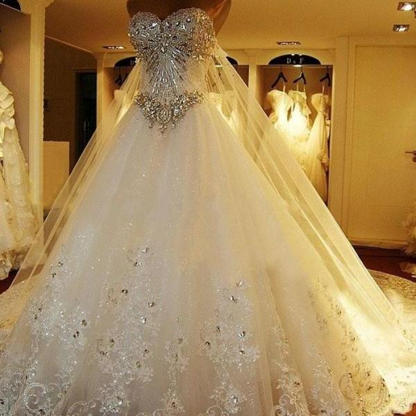Luxurious crystals tulle wedding dresses sweetheart women bridal luxurious crystals tulle wedding dresses sweetheart women bridal gowns on luulla junglespirit Gallery